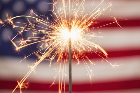 sparkler-and-american-flag