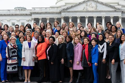 House Speaker Nancy Pelosi Poses For Photo With Democratic Women Members Of The 116th Congress At Capitol