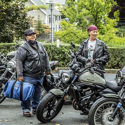 Motorcycle, Motor vehicle, Vehicle, Mode of transport, Transport, Motorcycling, Cruiser, Tree, Auto part, Car,