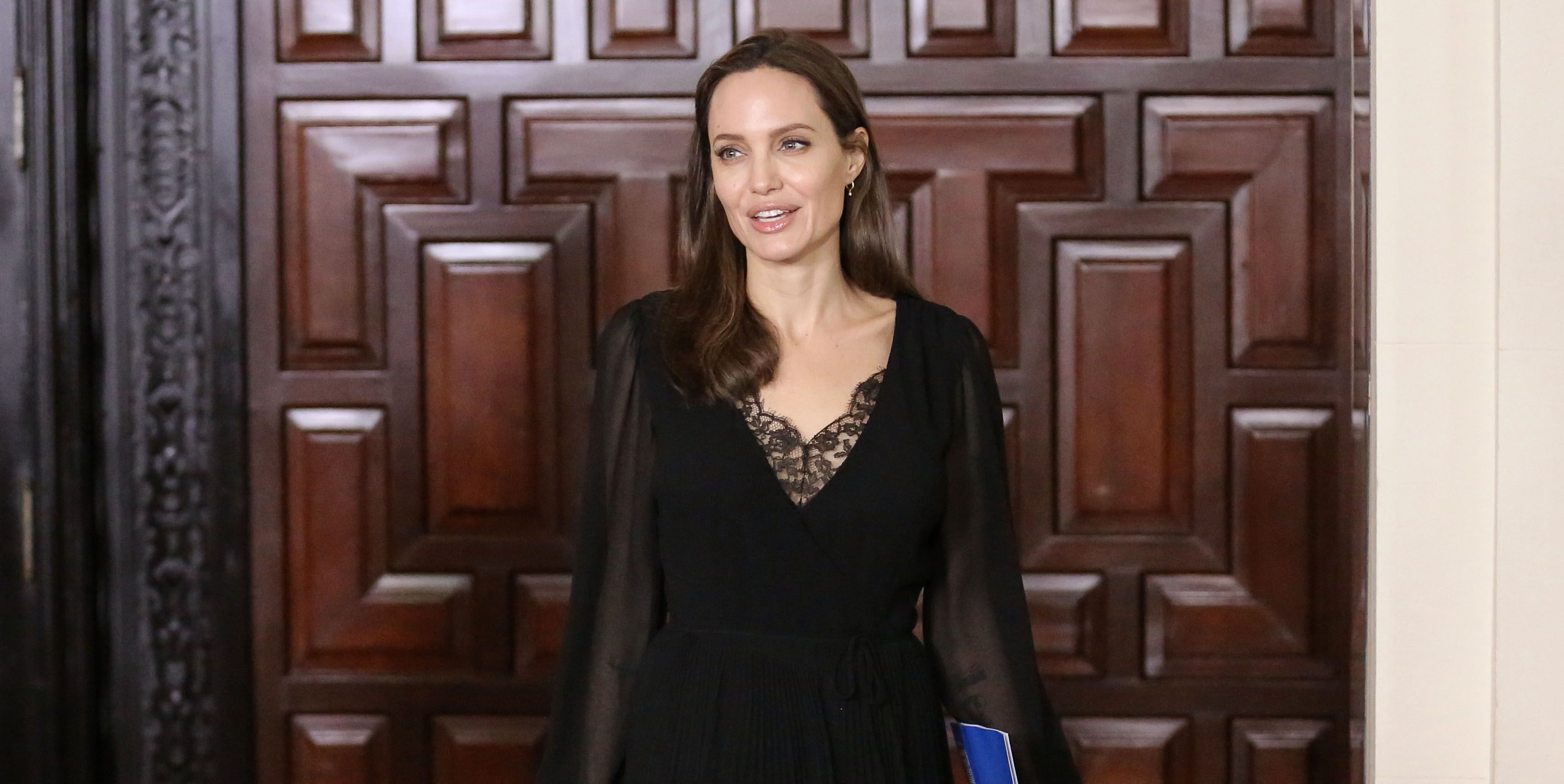 Angelina Jolie Stuns in a Black Lace Dress on Humanitarian Visit to Peru