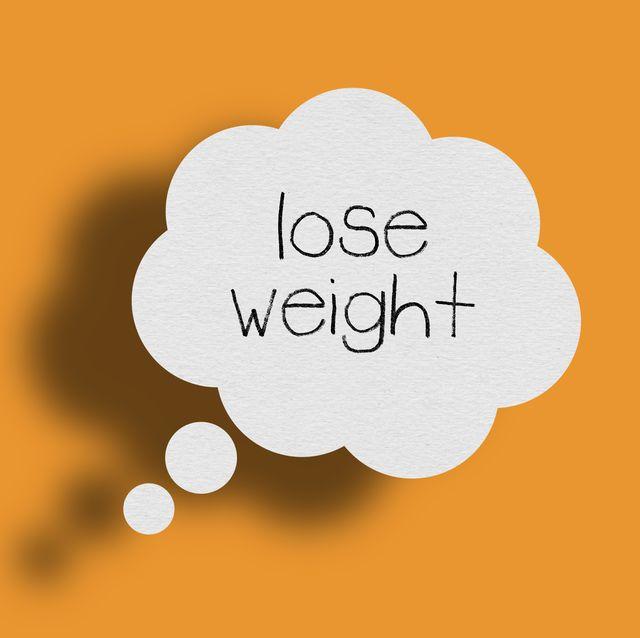 Speech bubble on orange background, Lose weight