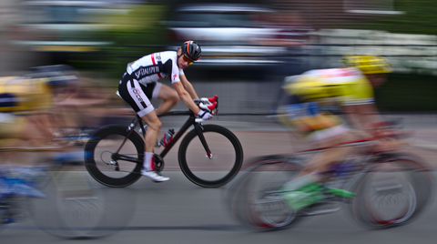 cyclists racing at speed
