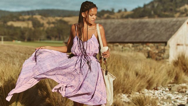 a model wears spell's age of aquarius dress in a campaign