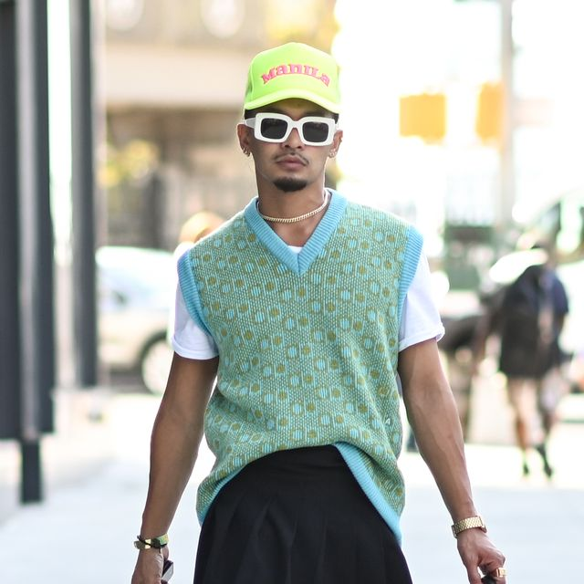 new york, new york   september 11 a guest is seen wearing a green sweater vest, black shorts and white sneakers outside the jonathan simkhai show during new york fashion week ss 22  on september 11, 2021 in new york city photo by daniel zuchnikgetty images