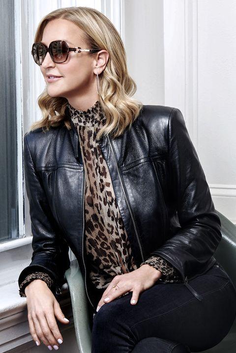 Leather, Clothing, Eyewear, Leather jacket, Jacket, Fashion, Sunglasses, Outerwear, Blond, Textile,