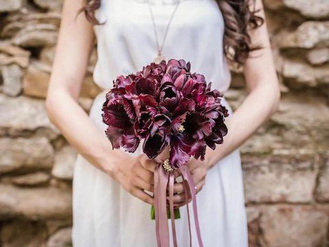 Purple, Bouquet, Flower, Dress, Plant, Pink, Cut flowers, Violet, Bride, Hand,