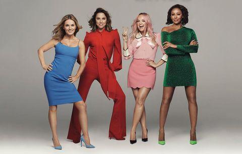 Fashion model, Clothing, Social group, Fashion, Dress, Shoulder, Fun, Standing, Cocktail dress, Leg,