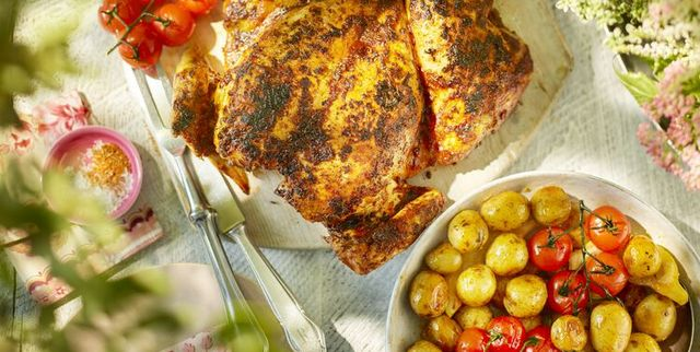 spiced spatchcock chicken with new potatoes and tomatoes