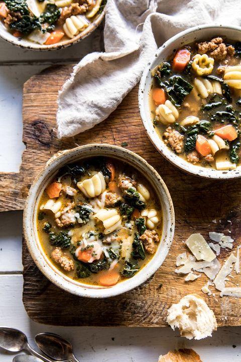 Spicy Italian Pesto Noodle Soup Fall Soup Recipes