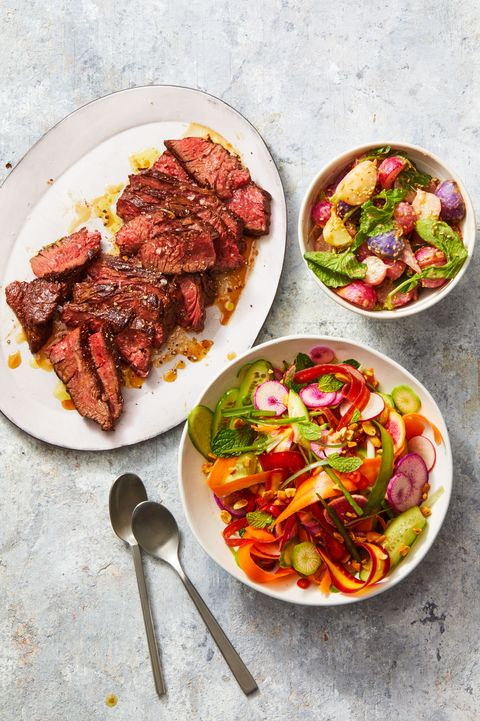 spicy radish salad with seared steak