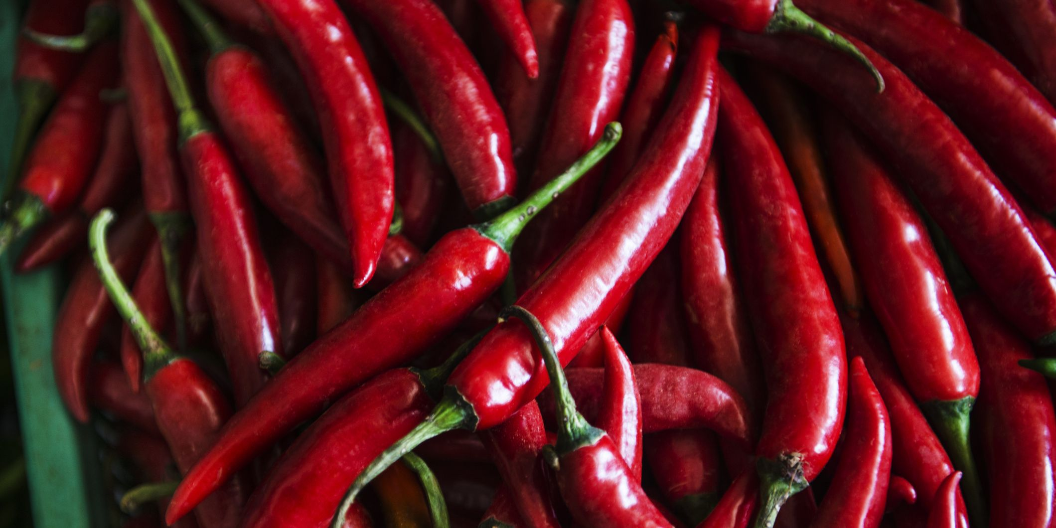 Spicy red chili peppers at the Central Market