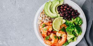 Spicy Shrimp Burrito Buddha Bowl with wild rice, broccoli, black beans and avocado