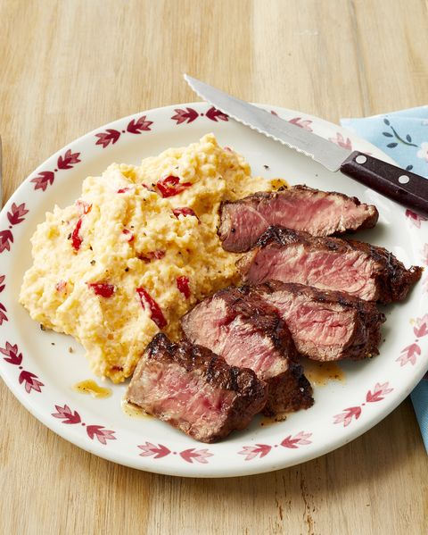 spicy steak with pimiento cheese grits