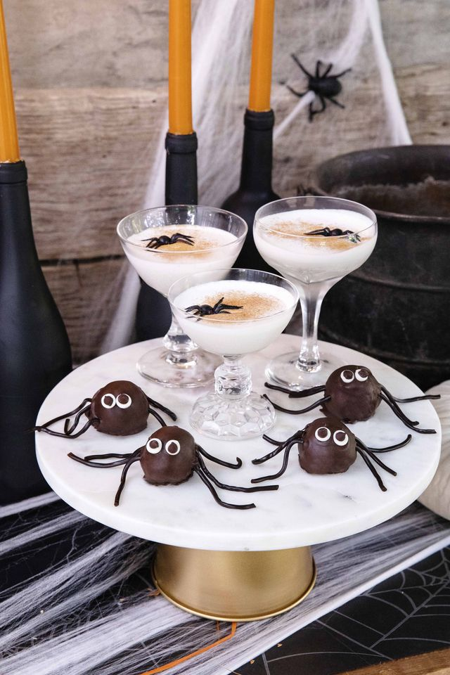 spider cookie truffles and halloween cocktails