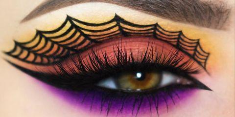 Eyelash, Eye, Eyebrow, Cosmetics, Purple, Organ, Eye shadow, Close-up, Eyelash extensions, Beauty,