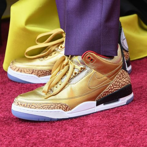 a411bf838431e2 Spike Lee Wore Custom Gold Air Jordan 3 Sneakers to Oscars 2019 ...