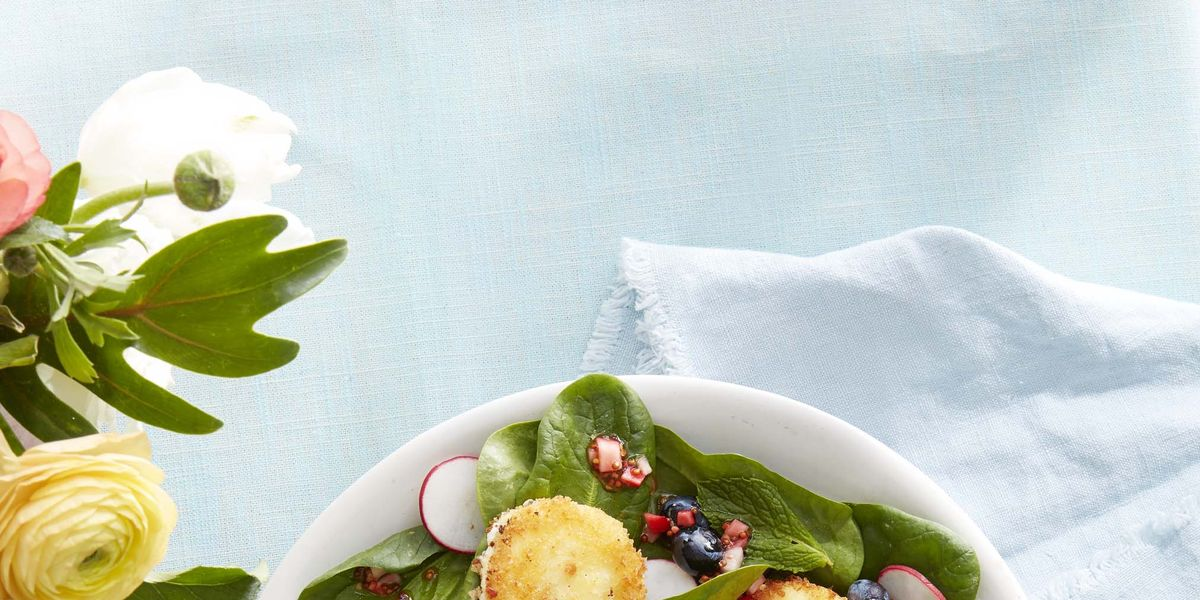 Spinach and Mint Salad with Crispy Goat Cheese