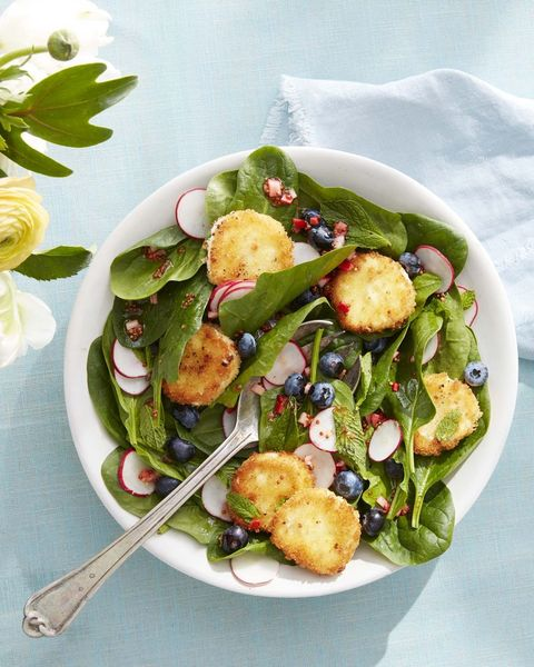 spinach and mint salad with crispy goat cheese and fresh blueberries