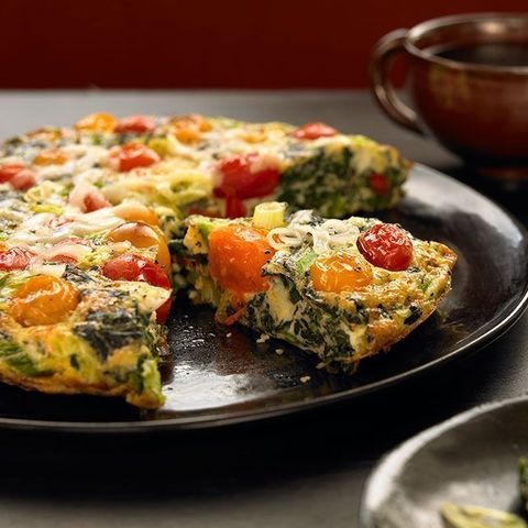 high protein low carb meal - spinach tomato frittata
