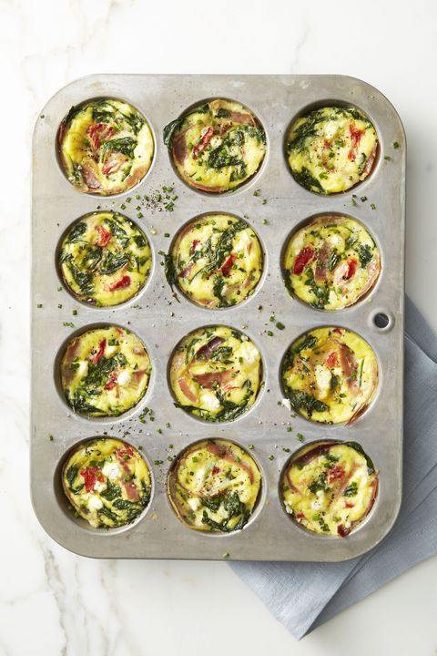 Spinach and Prosciutto Frittata Muffins - Easy Healthy Breakfasts