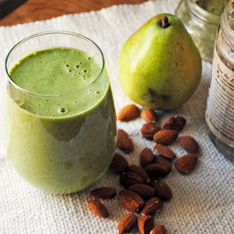 Almond Butter, Pear, Spinach, and Matcha Smoothie