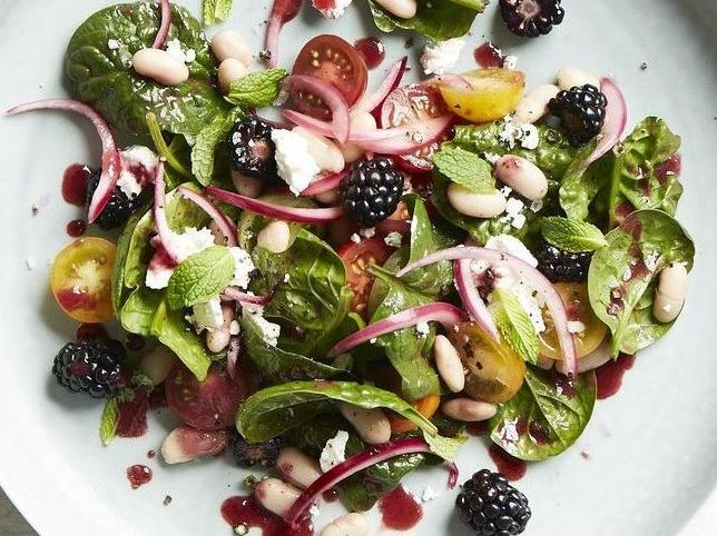 Spinach Salad with Warm Blackberry Vinaigrette