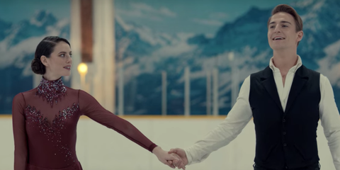Ice skating, Gesture, Fashion, Recreation, Holding hands, Dress, Photography, Suit, Skating, Formal wear,
