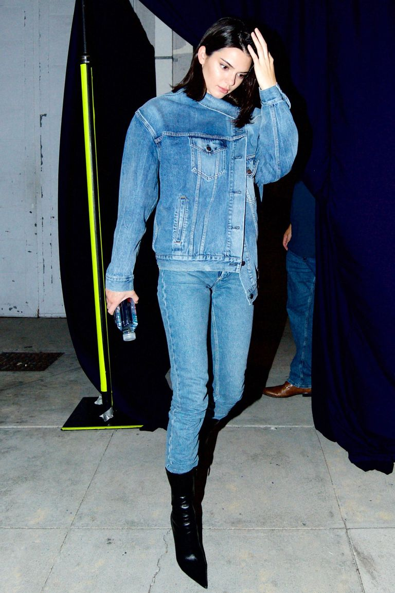 Kendall Jenner out in a Canadian tuxedo.