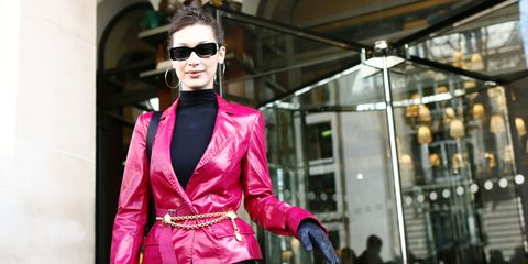 Pink, Street fashion, Clothing, Eyewear, Fashion, Magenta, Sunglasses, Blazer, Outerwear, Jacket,