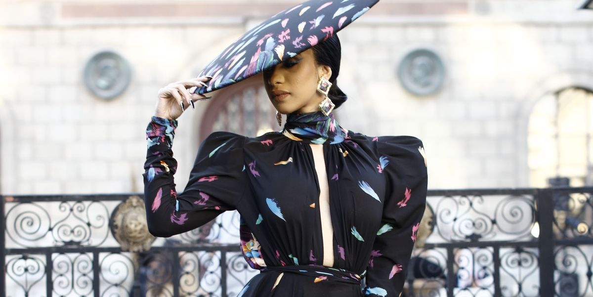 Cardi B Wore A Giant Michael Costello Peacock Feather