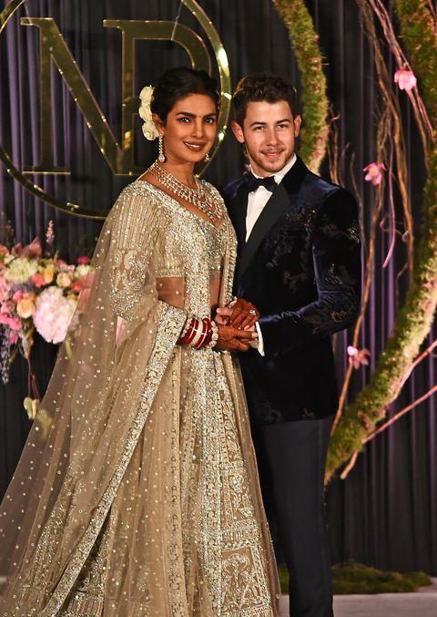 f2c160496ffd Priyanka Chopra Wears a Champagne Falguni Shane Peacock Outfit for her  Wedding Reception