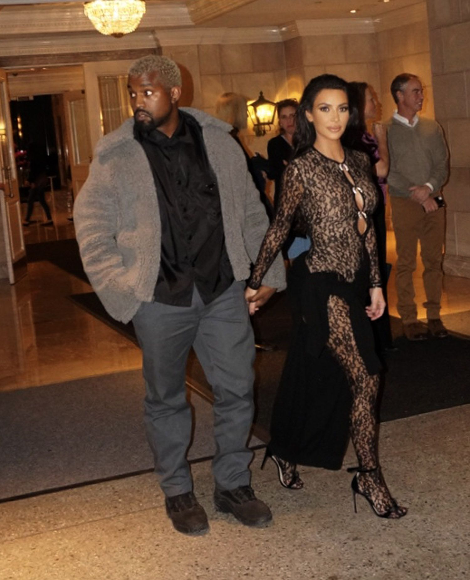 f0c14f0180345 Kim Kardashian Wore a Totally Sheer Lace Bodysuit by Alexander Wang ...