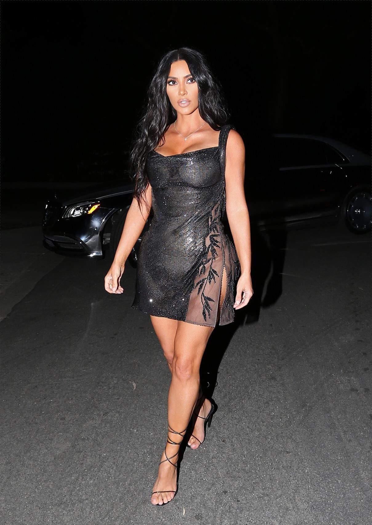 Kim Kardashian Stopped At Gas Station Wearing A Tiny See Through Dress There Are Photos