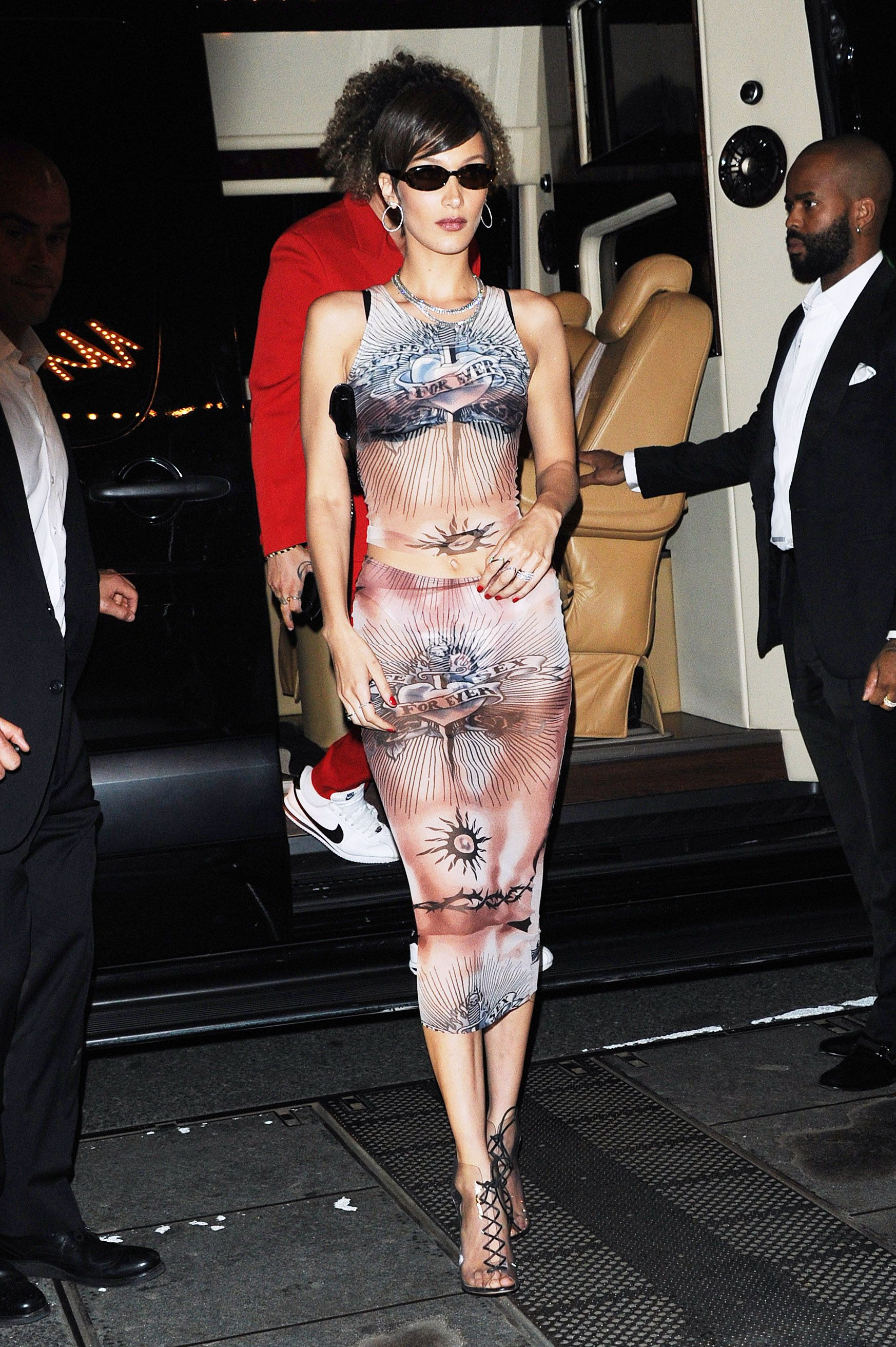 Bella Hadid The model kept it sheer at the after-party in a printed dress.