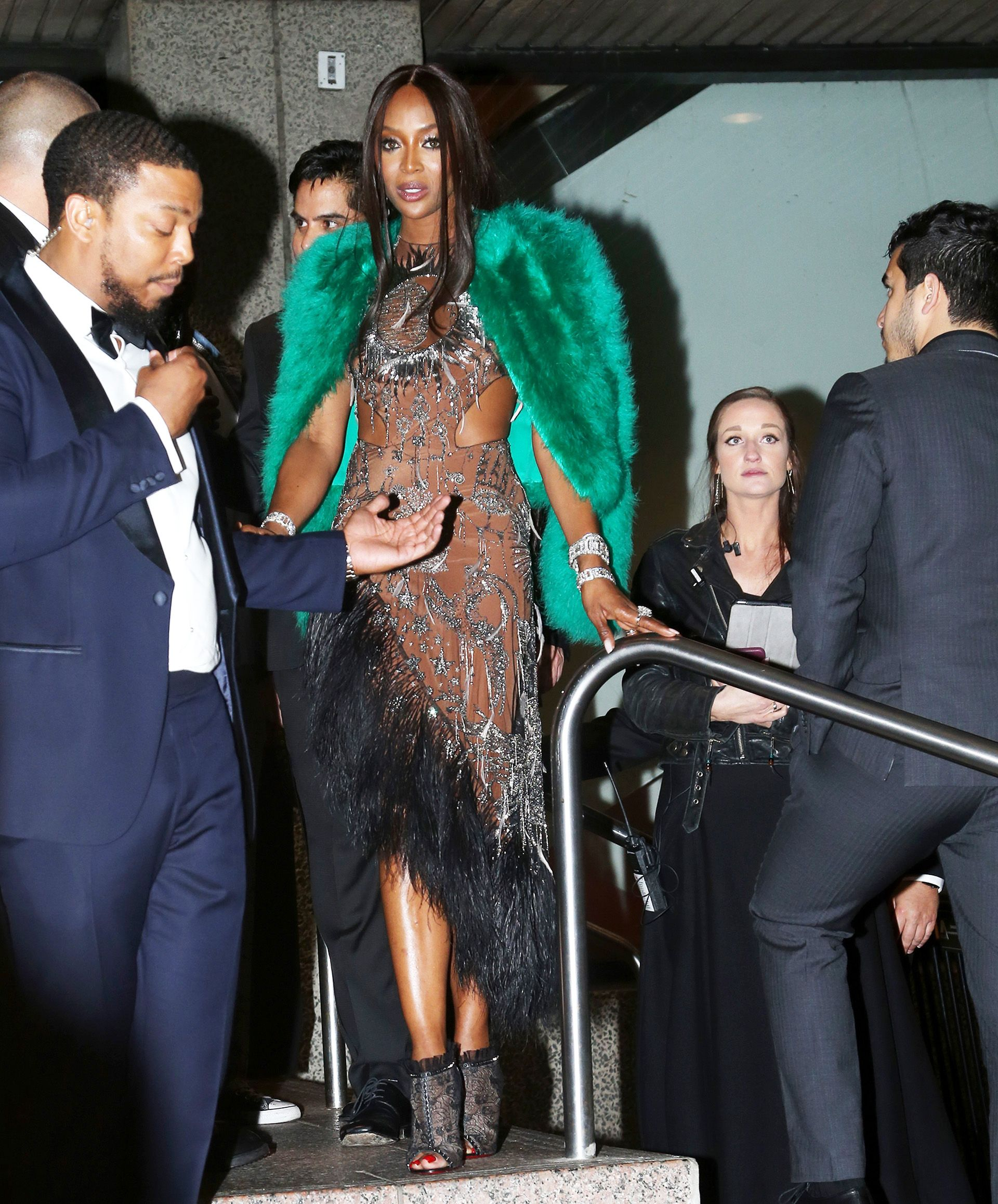 Naomi Campbell The model changed out of her pink Met Gala look and threw on a furry green jacket.