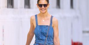 EXCLUSIVE: Katie Holmes Flash A Big Smile While Out Shopping, Wearing A Denim Overall In New York City