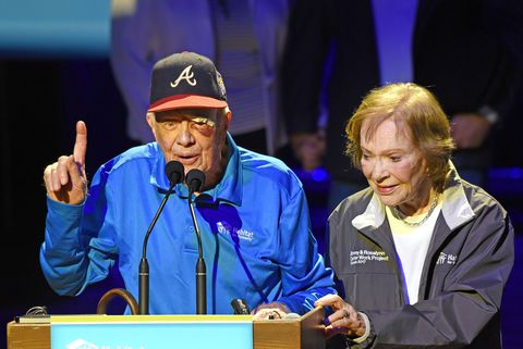 """Jimmy Carter, Seen With 14 Stitches In His Head From Another Fall At His Home, Appears At """"Habitat For Humanity"""" Opening Ceremony"""