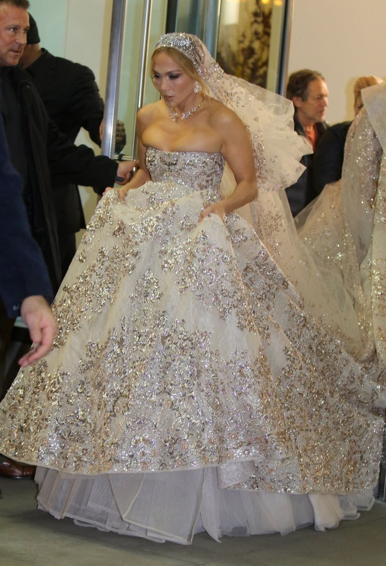 Jennifer Lopez Dazzles In Embellished Wedding Gown Ahead Of Wedding To Alex Rodriguez