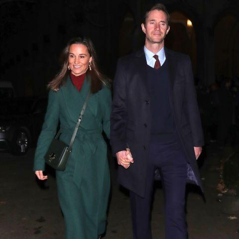 Pippa Middleton and  James Matthews leaving the Henry Van Straubenzee memorial fund's Christmas carol service at St Luke's Church Chelsea