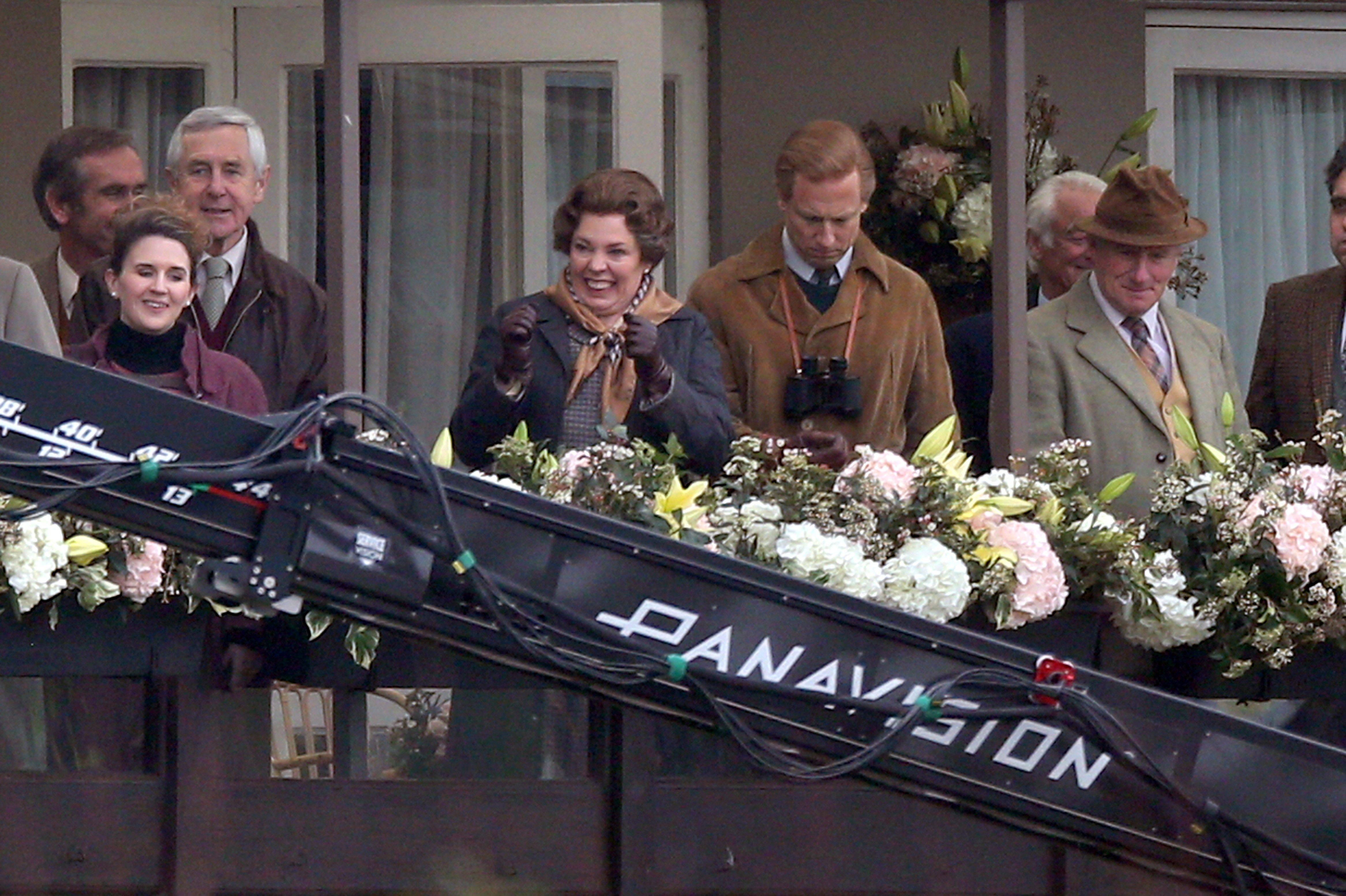 Olivia Colman Looks Ecstatic on the Set of The Crown Season 4
