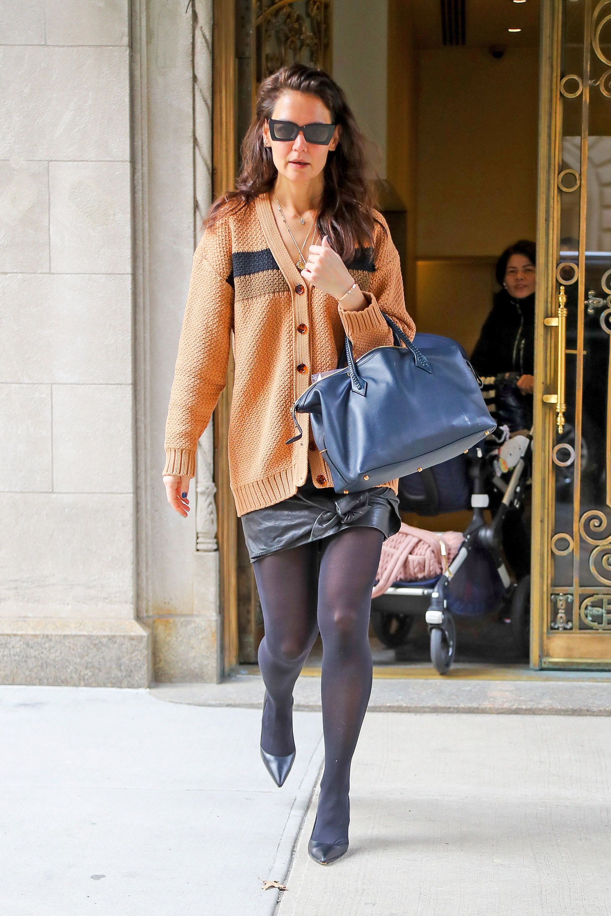 Katie Holmes Is Dreamy in a Leather Mini and Oversize Cardigan