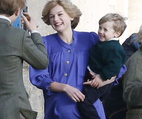 See Emma Corrin As A Pregnant Princess Diana Playing With A Young Prince William In The Crown