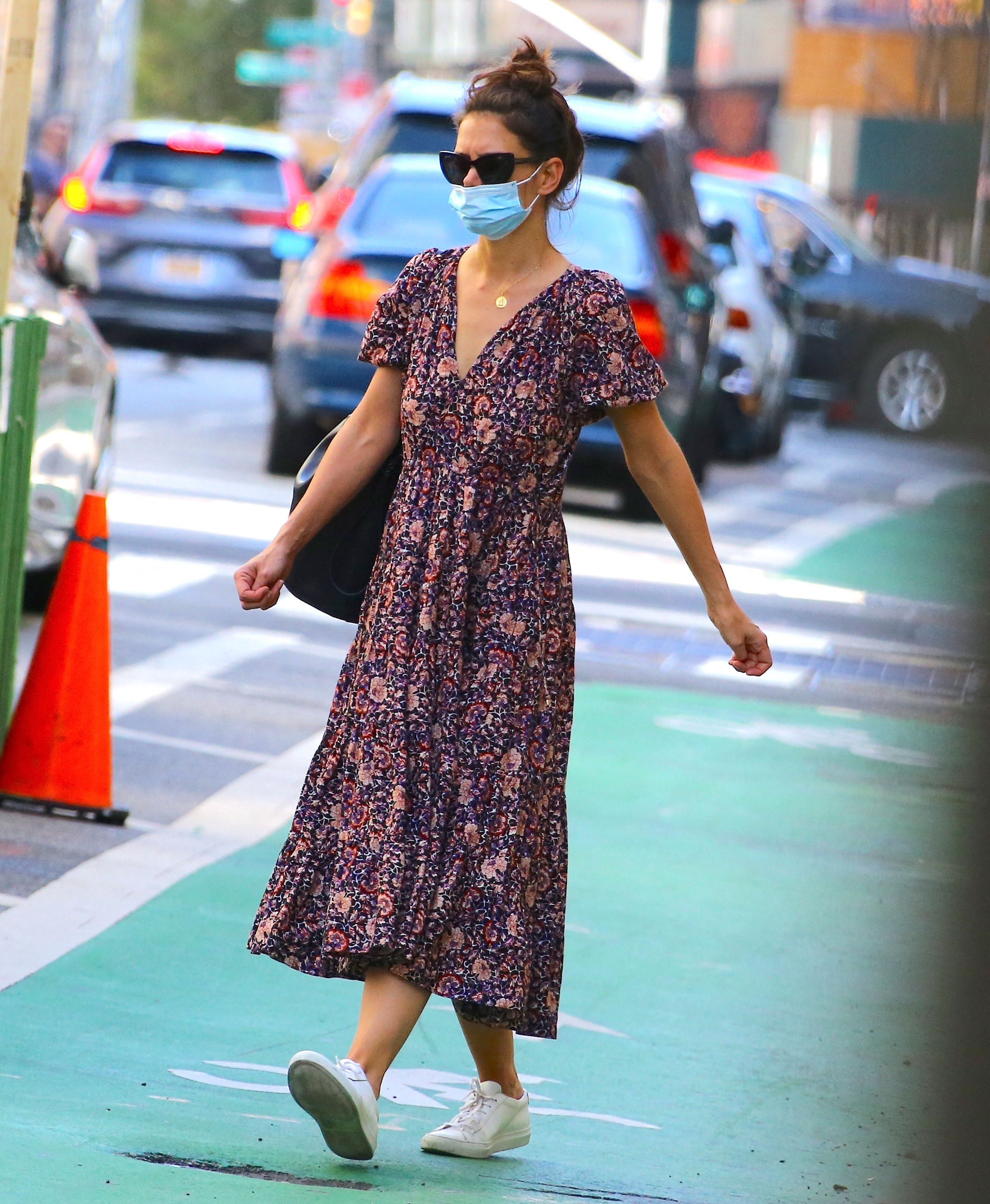 Katie Holmes Wore an Ulla Johnson Floral Dress While Out in New York City
