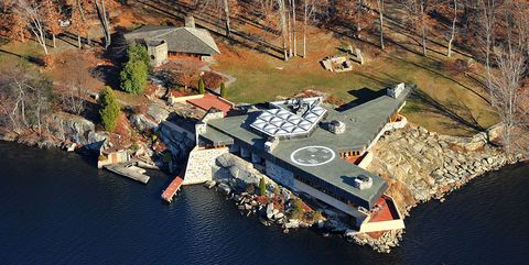 Landscape, Aerial photography, House, Watercourse, Dock, Home, Bird's-eye view, Autumn, Water transportation, Cottage,