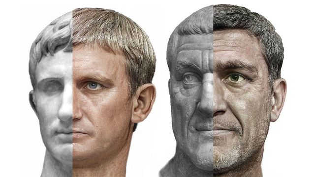 ai created photorealistic depictions of roman emperors on one half of a face and their statue equivalents on the other half