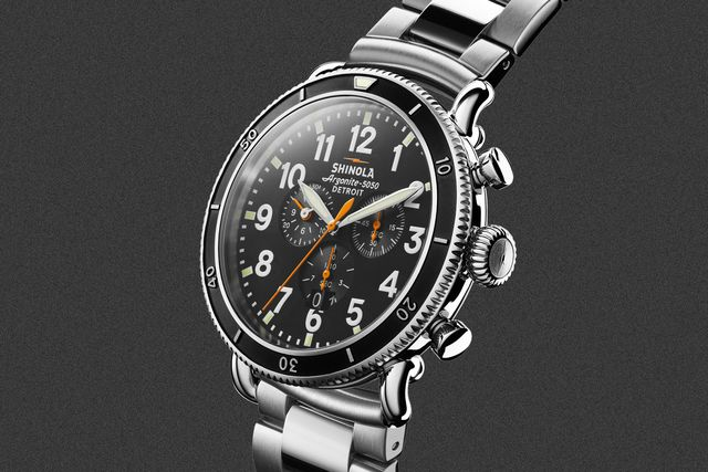 shinola runwell chrono watch with a stainless steel case