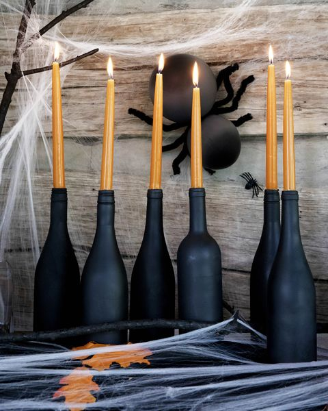 halloween party decor wine bottle candlesticks