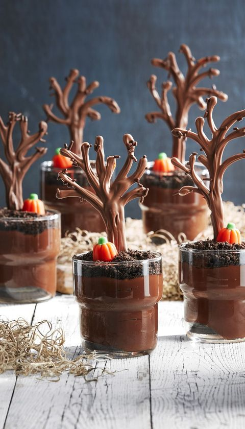 spooky forest pudding cups recipe halloween treats