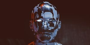 Spooky futuristic male cyborg