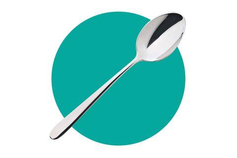 Spoon, Aqua, Turquoise, Cutlery, Tableware, Logo, Circle, Illustration,